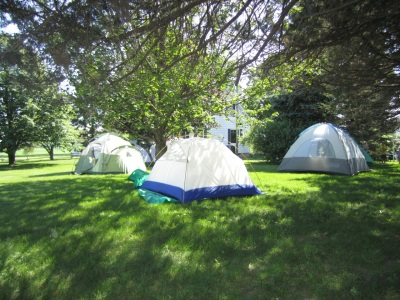 Girl Scouts tents in yard