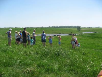 Girl Scouts on pasture walk